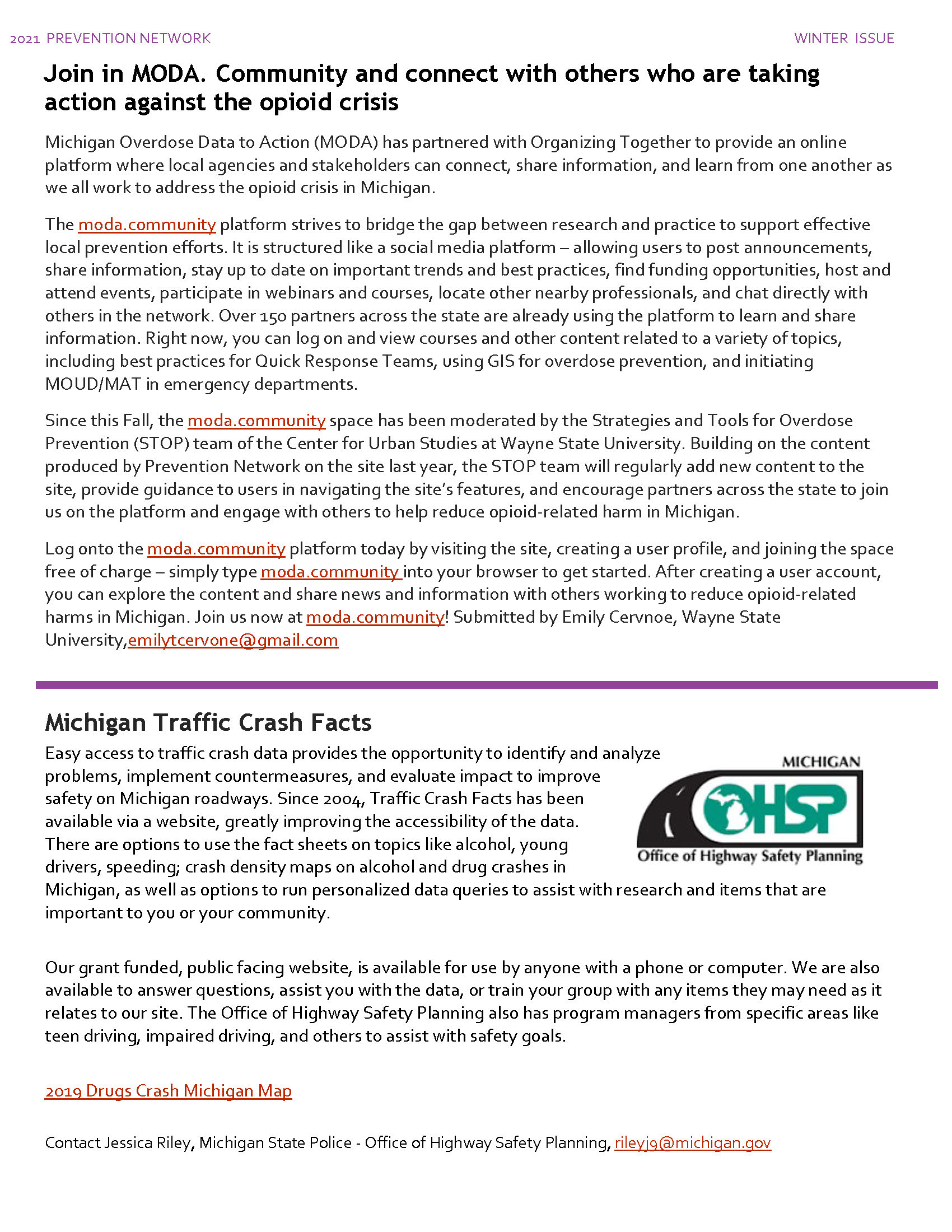 Moda. Community & MI Traffic Crash Facts