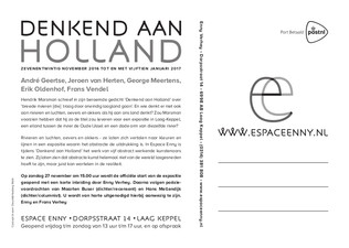 Denkend aan Holland, groepstentoonstelling, Espace Enny, november 2016