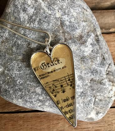 """Grace"" Hymnal Heart Necklace"