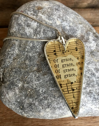 """Of Grace"" Hymnal Heart Necklace"