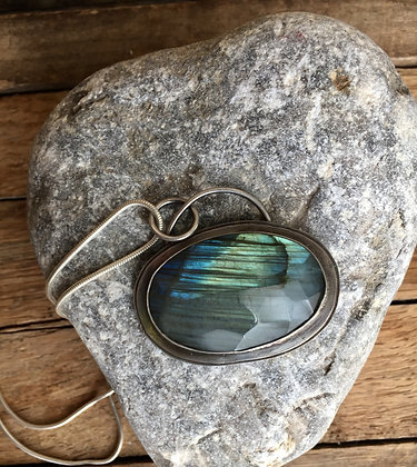 """RESERVED Labradorite and Sterling Necklace ~ """"It Was A Dark and Stormy Night"""""""