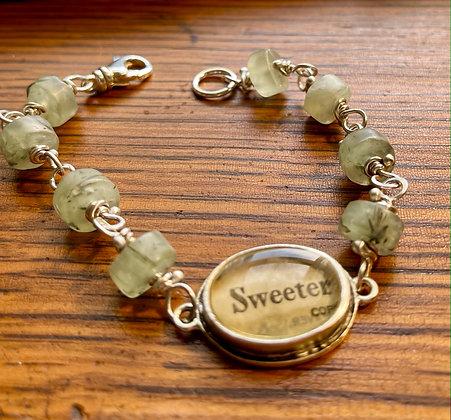 """Sweeter"" Prehnite and Sterling Silver Inspire Word Bracelet"