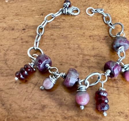 """My Heart"" Sterling, Stainless and Stone Bracelet"