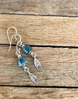 "Blue Apatite and Sterling Silver Earrings - ""Breeze"""