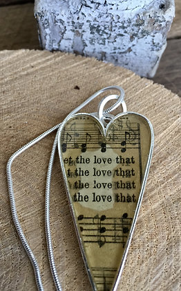 """""""The Love"""" Hymnal Heart Necklace"""