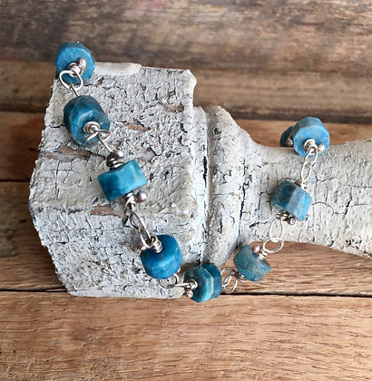 """Apatite and Sterling """"Classic Stone"""" Bracelet"""