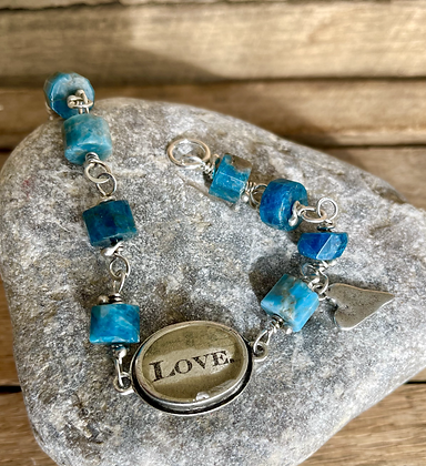 """Love"" Blue Apatite and Sterling Silver Bracelet"