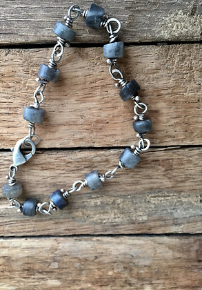 "Labradorite and Sterling Silver ""Classic Stone"" Bracelet"