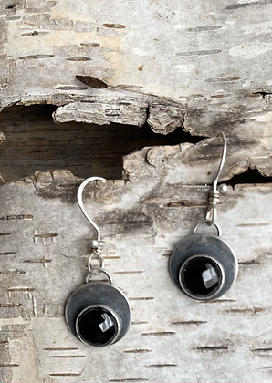 "Black Spinel and Sterling Silver Earrings - ""Mysterious"""