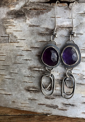 Amethyst & Sterling Dangles Earrings