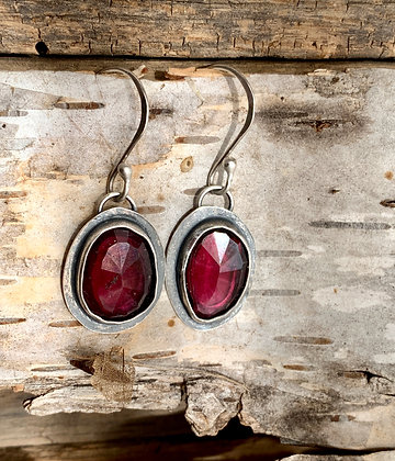 "Rhodelite and Sterling Earrings ~ ""Cabernet"""