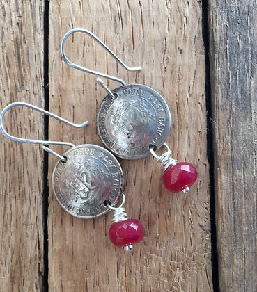 Faux Coin and Red Quartz Earrings