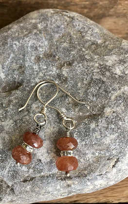 Rutilated Quartz, Crystals and Sterling Earrings