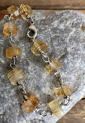 """Citrine Tyre and Silver """"Classic Stone"""" Bracelet"""