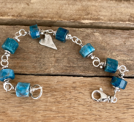 Apatite and Sterling Classic Stone Bracelet