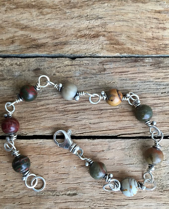 """Picasso Jasper and Sterling """"Classic Stone"""" Bracelet"""