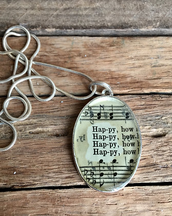 """""""Happy"""" Hymnal Oval Necklace"""