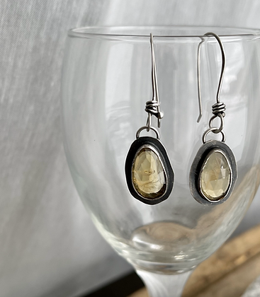 """Citrine and Sterling Earrings """"Brilliance"""""""