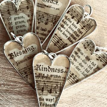 Hymnal Heart Pendants