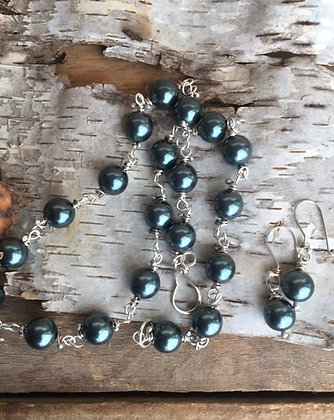 Blue Ice Necklace & Earrings Combo