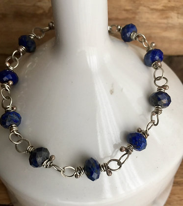 Lapis Lazuli and Sterling Classic Stone Bracelet