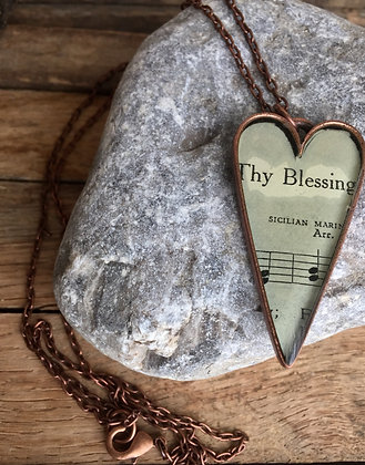 """""""Thy Blessing"""" Hymnal Heart Necklace"""