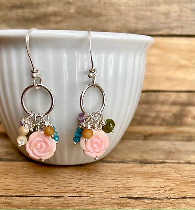 "Boho Bits ""Pink Flower"" Earrings"