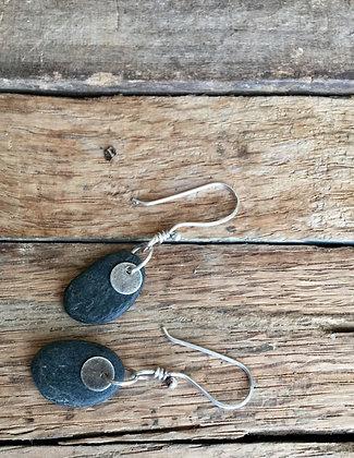 Stone and Sterling Earrings - Dark Stones #2