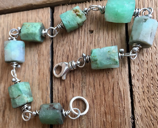 "Chrysoprase and Sterling ""Classic Stone"" Bracelet"