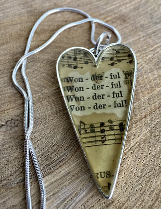 Wonderful, Wonderful Hymnal Heart Necklace