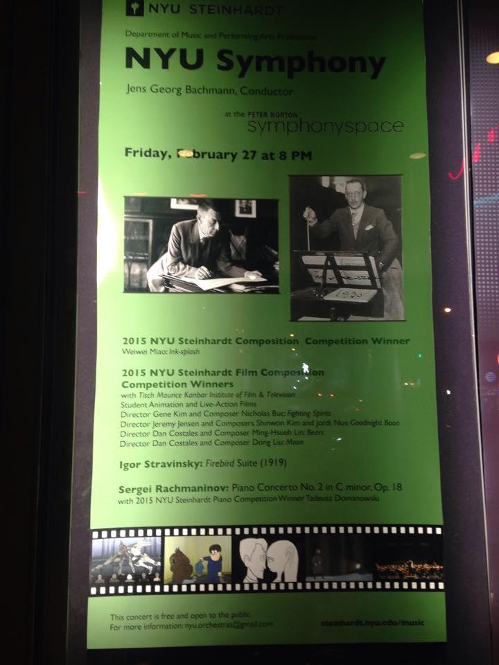 Poster of NYU film score concert