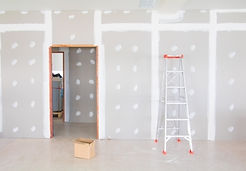 stair and gypsum board wall interior decoration of home at construction site with copy spa
