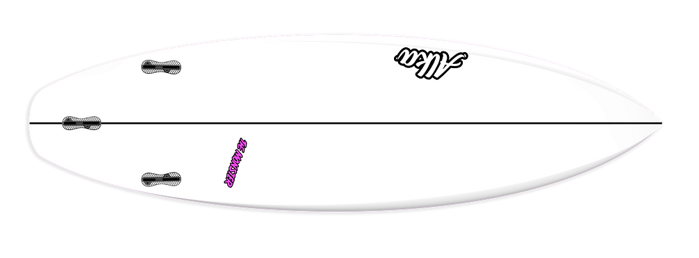 A deck view from our Alka Surfboard model The Monster, an all around high performance shortboard. Indredible speed bit 100% hold no matter how hard you push it offf the bottom or through turns.