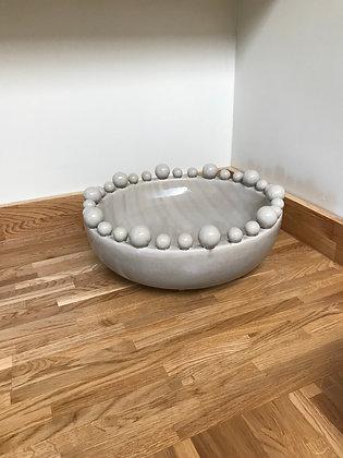 Grey Glazed Bowl with Ball Detail