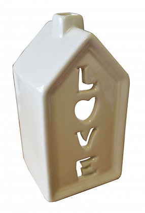 Cream Love House T Light Holder 13 x 7cm
