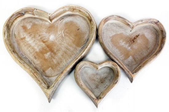 Set of 3 Wooden Heart Trays