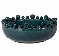 Teal Glazed Bowl With Ball Detail