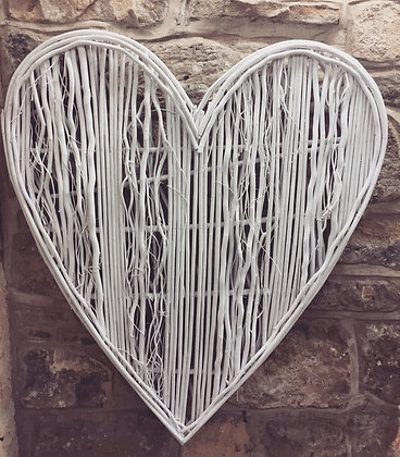 Extra Large white willow heart
