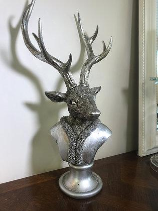 Silver Finish Deer Bust