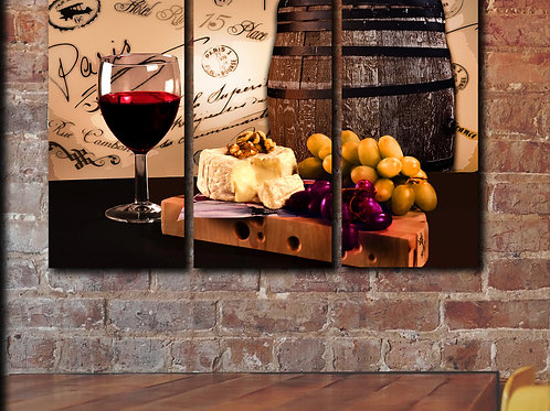 Red Wine Glass Barrel Cheese Wall Art Decor Picture Painting Print 22 by 33 in