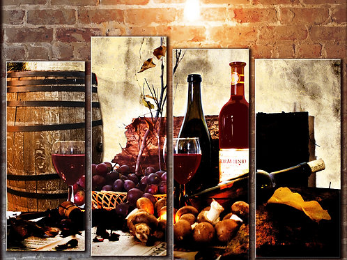 Red Wine Glass Barrel Cheese Wall Art Decor Picture Painting Print 32 by 44 in