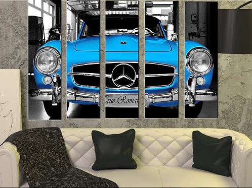 Big Blue Vintage Mercedes Wall Art Decor Picture Painting Print 35 by 55 in