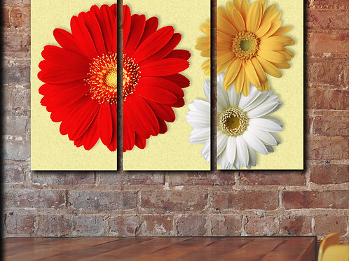 Red Gerbera Flowers Wall Art Wall Art Decor Picture Painting Print 22 by 33 in