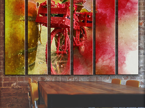 Bicycle Red Flowers Wall Art Decor Picture Painting Print 44x67