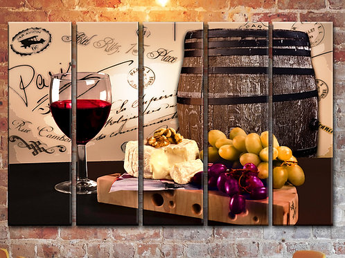 Red Wine Glass Barrel Cheese Wall Art Decor Picture Painting Print 35 by 55 in