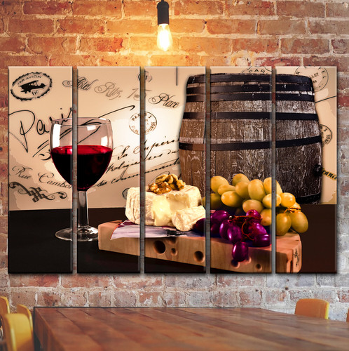 Red Wine Glass Barrel Cheese Wall Art Decor Picture Painting Print ...