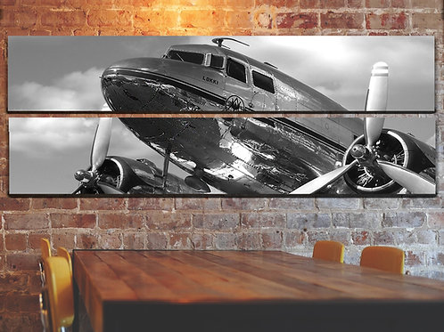 Big Vintage DC-3 Airplane Wall Art Decor Picture Painting Print 22 by 67 in