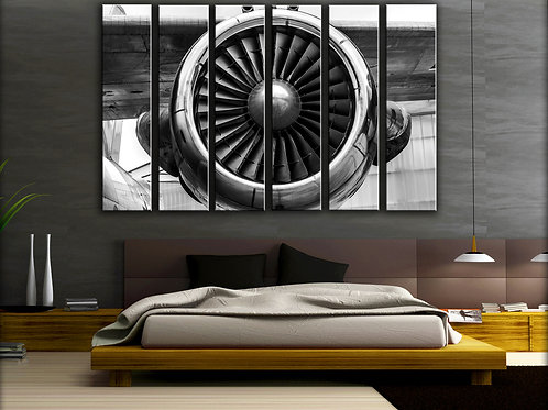 Huge Airplane Engine Wall Art Decor Picture Painting Print 44 by 67 in
