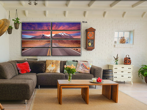 Road Mountains Clouds Wall Art Decor Picture Painting Print Travel Nature Art