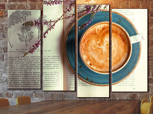 Large Coffee and Crema Wall Art Decor Picture Painting Print 32 by 44 in